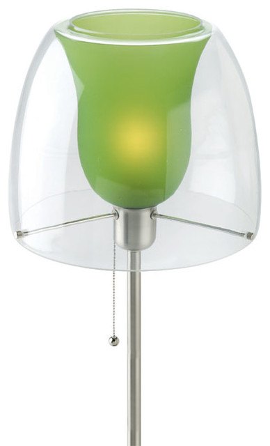 Double Glass Table Lamp - Green Inner Glass Shade traditional-table-lamps