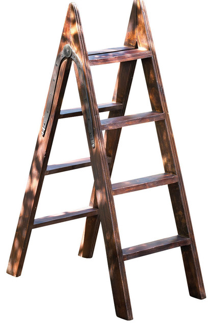 Decorative Wood Ladder With Iron Hinge Transitional