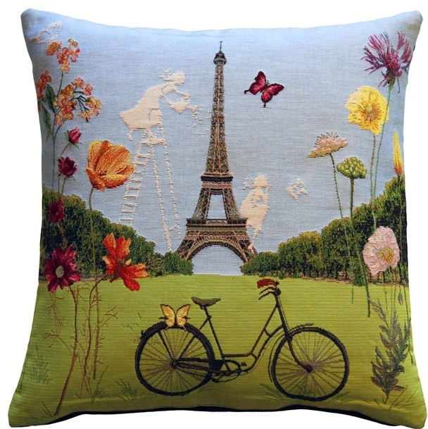 Pillow Decor - Eiffel Tower in Spring Tapestry Throw Pillow - Eclectic - Decorative Pillows - by ...