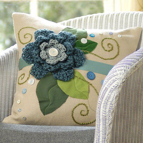 Ecru Single Flower Wool Cushion by Emily Brown Design modern pillows