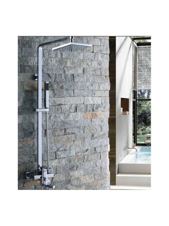 Shower Faucets - 8 Inch Chrome Rainshower Shower Suit with Handshower and Shower Heads--FaucetSuperDeal.com