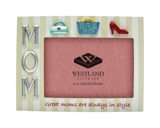 WL - 4 x 6 Inch Mom in Style Shopping Decorated Striped Resin Photo Frame - This gorgeous 4 x 6 Inch Mom in Style Shopping Decorated Striped Resin Photo Frame has the finest details and highest quality you will find anywhere! 4 x 6 Inch Mom in Style Shopping Decorated Striped Resin Photo Frame is truly remarkable.