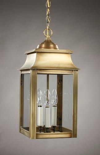 Concord Antique Brass Three-Light Outdoor Pendant with Clear Glass traditional-outdoor-lighting