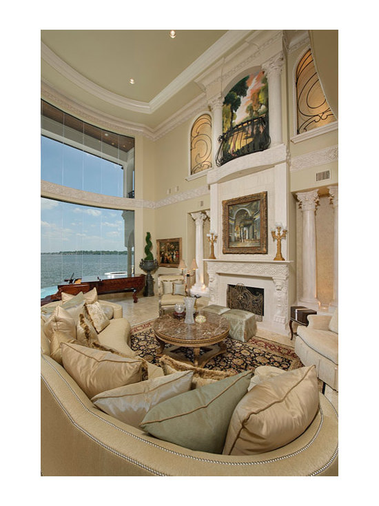 Installations - Lake Conroe- three story custom hand carved marble mantle with extended over mantle and interior columns