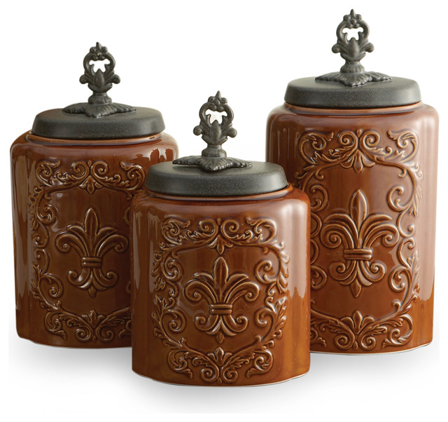 antique canisters set of 3 brown contemporary food