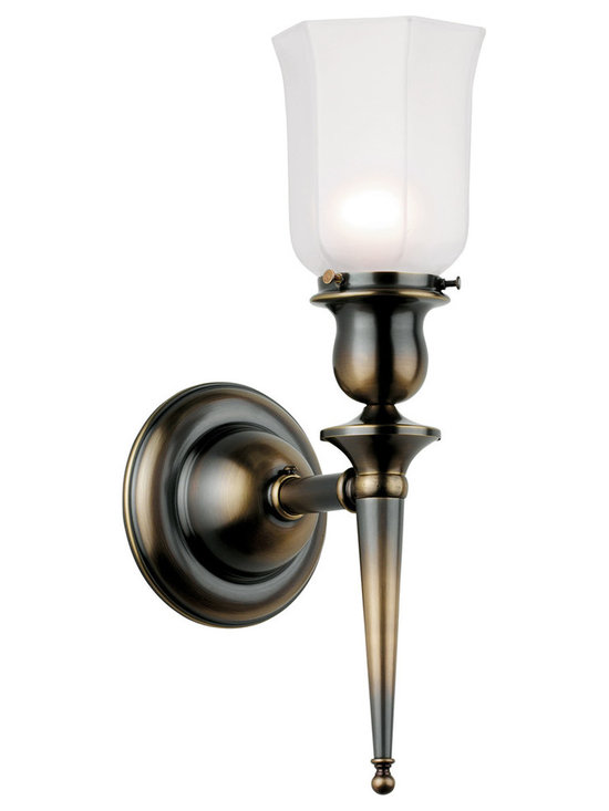 Rejuvenation: Exterior Outdoor Lighting - The Fields.  A distinctive wall bracket with an early Colonial-influenced design that evokes the look of a torch. Beautiful on porches, and also in living rooms, dining rooms, and early 20th century bathrooms. Available in multiple finishes.