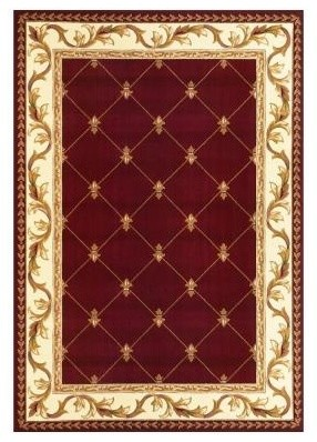 "Area Rug: Fleur-De-Lis Red 7' 7"" x 10' 10"" contemporary-rugs"
