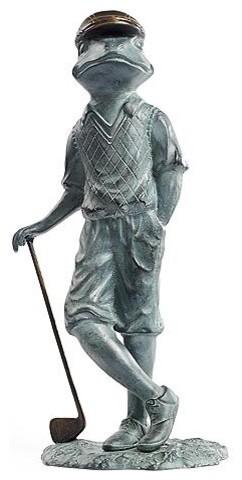 Golf Partner Garden Frog - Frontgate traditional-garden-statues-and-yard-art