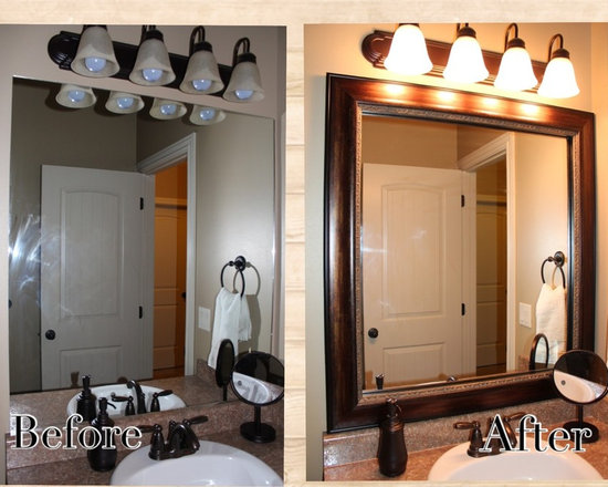 Bathroom Mirror Frame - Reflected Design provides beautiful frames that install over the top of your existing mirror. It sticks right to the surface. We also provide frames that you can put a mirror inside. Nationwide shipping.