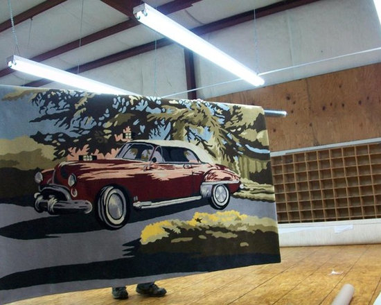 Custom Made Classic Car Area Rug - This rug was custom made for a client in Southern California. It was created from an old family photo.  The area rug now hangs in the garage housing the client's collection of rare automobiles.  Need a custom rug?  Contact us.... Hemphill's Rugs & Carpets Orange County, California.