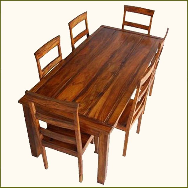 Appalachian Rustic 7 Pc Dining Table And Chair Set Indian Rosewood