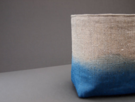 Organic Dip-Dyed Natural Blue Indigo Linen Fabric Storage Basket By JeanieDeans contemporary baskets