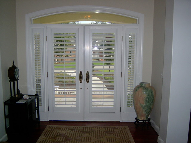 Plantation Shutters On Doors Traditional Raleigh By The Louver Shop