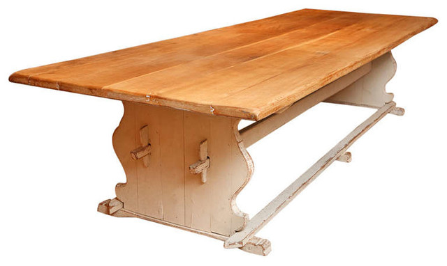 Swedish provincial dining table with trestle base for Traditional dining table bases