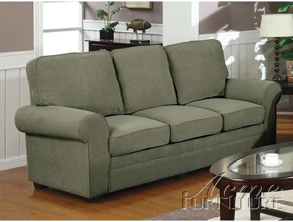 Acme furniture contemporary chantel sage plush sofa for Plush living room furniture