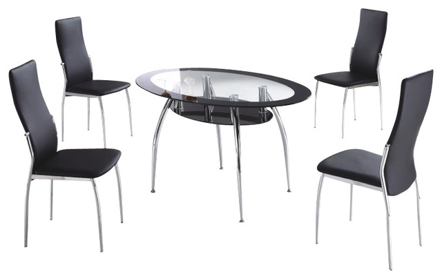 table with black vinyl chairs 5 piece dining set modern dining sets