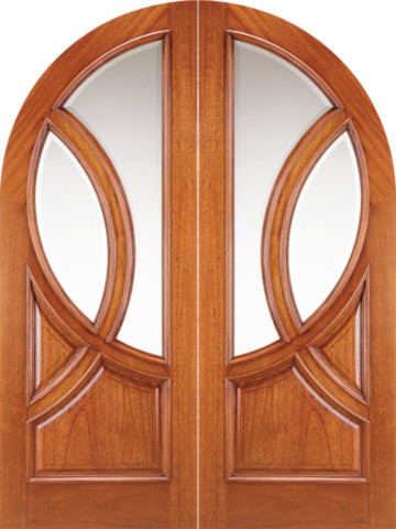 Round top solid mahogany double prehung doors with glass mediterranean front doors tampa for Exterior door with round window