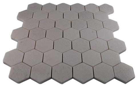 White Thassos Hexagon Marble Mosaics eclectic-tile