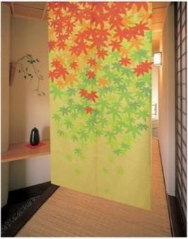 Maple Leaf Japanese Noren Doorway Curtain - modern - shower ...