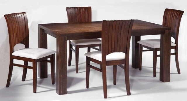modern dining room with rectangular solid wood table set with chairs