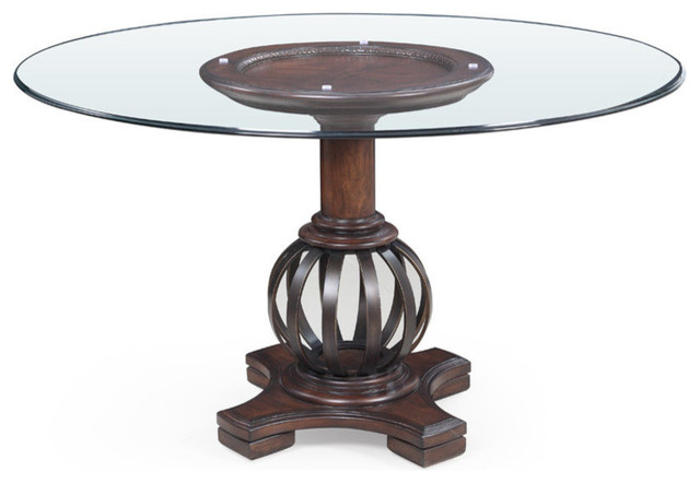 Mirror Grenadine Round Glass Dining Table Transitional Dining Tables