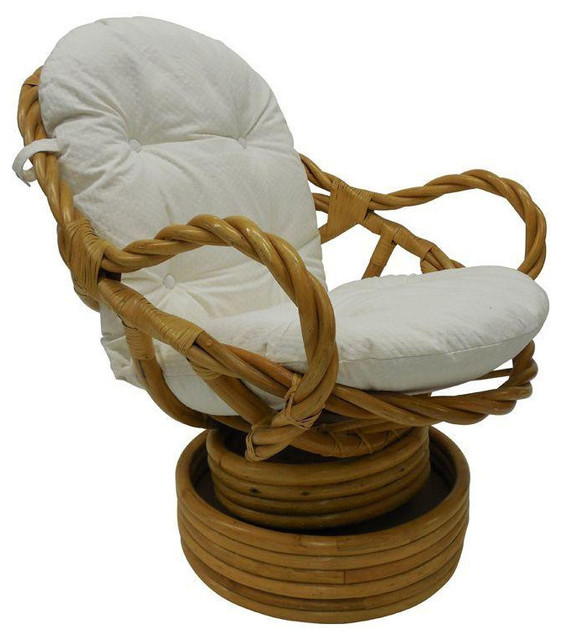 Vintage Bamboo Rattan Swivel Rocking Chair - Tropical - Rocking Chairs ...