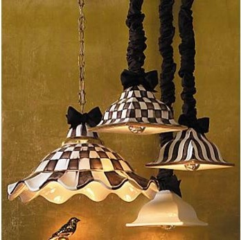 MacKenzie-Childs Courtly Check Square Hanging Lamp eclectic-pendant-lighting