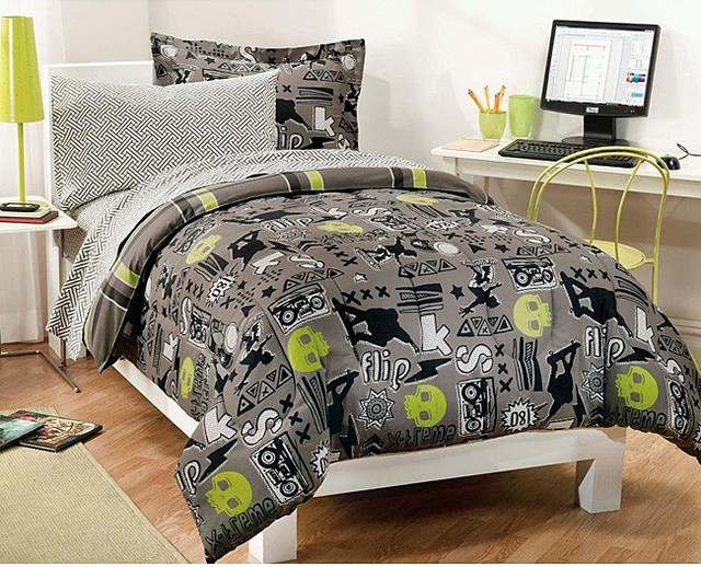 X-Factor 7-piece Full-size Bed in a Bag with Sheet Set contemporary-sheet-and-pillowcase-sets