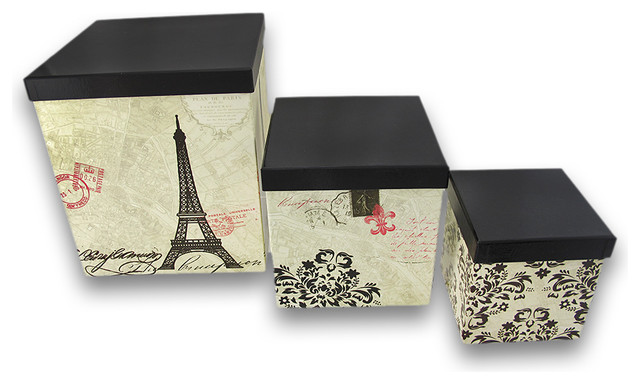 Decorative Boxes For Closets : Paris themed nesting storage boxes set of traditional