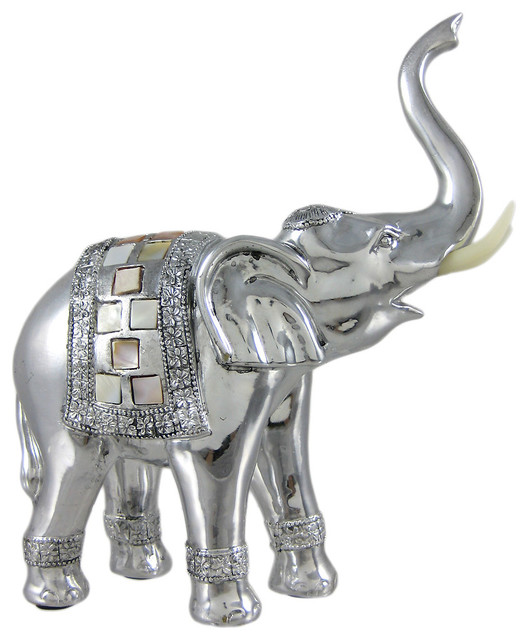 Abstract Silver Finish Elephant Statue Sculpture Mop Traditional Decorative Objects And