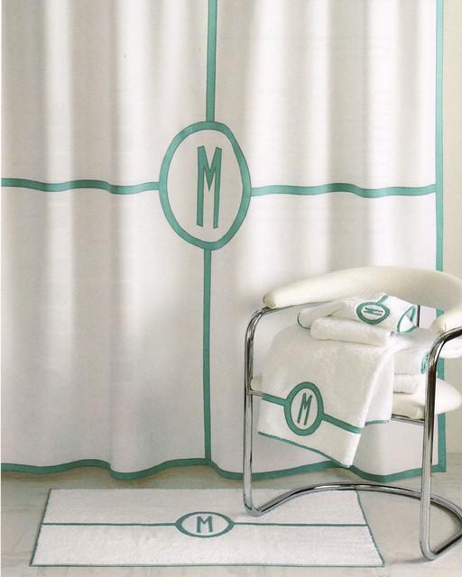 Parterre Monogrammed Shower Curtain WHITE SILVER SHOWER