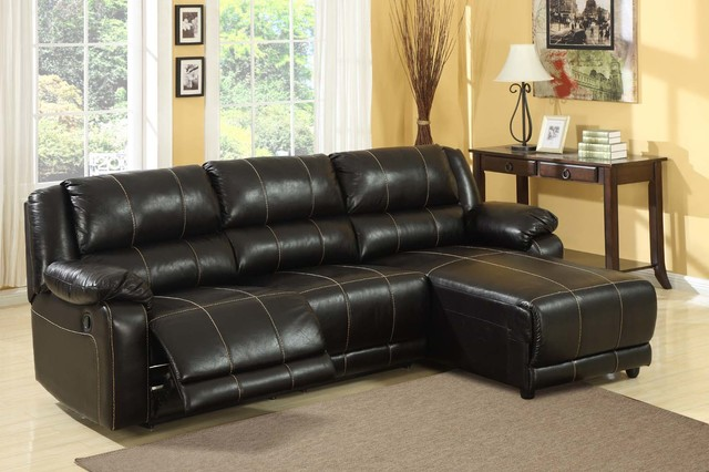 Modern small espresso microfiber tuft reclining sectional sofa chaise contemporary sectional - Leather reclining sectional with chaise ...