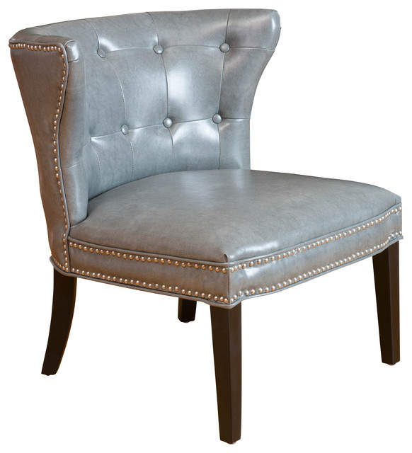Rocio Leather Accent Chair Grey Contemporary