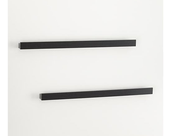 """Set of 2 Archetype 36"""" Black Photo Ledges - Smart black photo ledges with a built-in rails make it easy to display photos or artwork. Lightweight and sturdy shelves get their hidden strength from a hollow-core construction, supporting up to 54 pounds each. Combine with Archetype's other sizes for a functional, dimensional wall display."""