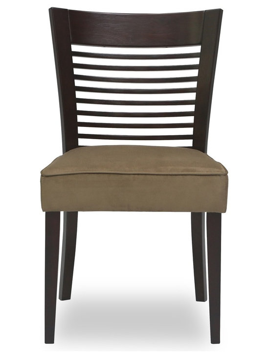Bryght - Casey Light Brown Fabric Upholstered Light Cappuccino Dining Chair - The Casey dining chair boasts a sleek well balanced appearance with its thick seat and sturdy solid wood wide back. The backrest draws a focal point with its slim wood panels that run horizontally making the Casey dining chair a gorgeous addition to any modern household.