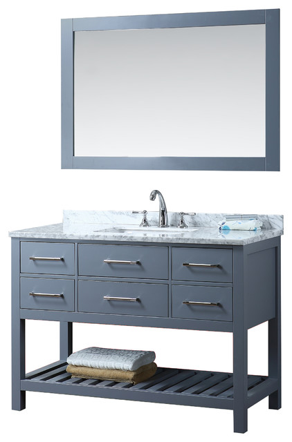New 48 Grey Manhattan Bathroom Vanity Transitional Bathroom Vanities And Sink Consoles