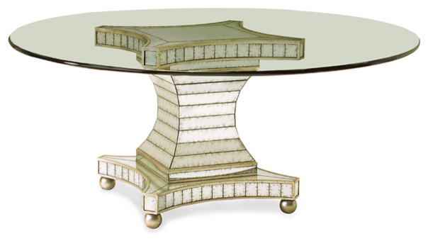 Antiqued mirror glass dining table contemporary dining tables