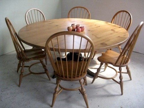 Round Farm Table In Golden Finish Farmhouse Dining Tables Boston