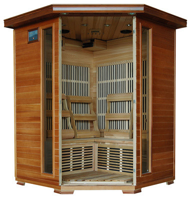 Blue Wave 3 Person Cedar Carbon Sauna traditional-hot-tub-and-pool-supplies