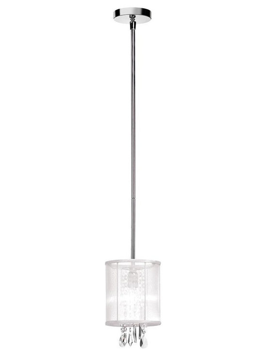 "Shaded 1 Light 6"" Crystal Mini Pendant or Ceiling Mount Fixture with White Organ - Elegant & glamorous sheer white organza silk drum shade creates a veil over sparkling illuminated crystals to shower your room with romantic elegance. To further enhance this chic design is a polished chrome finish. Includes three stems to adjust hanging height when used as a mini pendant, or may also be flush-mounted to the ceiling for areas with low ceilings. Candelabra base light bulb not included."