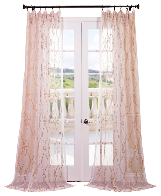 contessa gold embroidered sheer curtain contemporary curtains