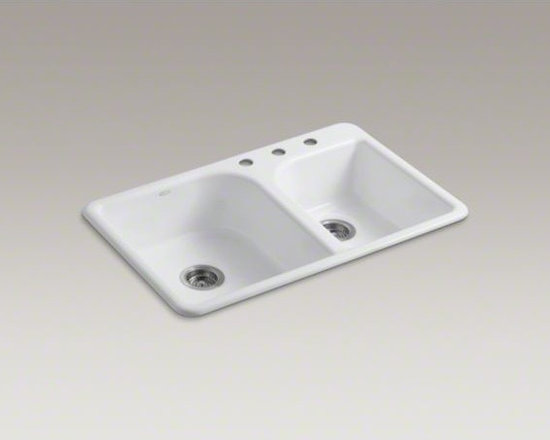 """KOHLER - KOHLER Efficiency(TM) 33"""" x 22"""" x 7-5/8"""" top-mount large/medium double-bowl kitc - The Efficiency sink features an innovative offset faucet ledge that maximizes basin space while creating a distinctive asymmetric look. The large/medium bowls allow you to keep clean and dirty dishes separate while offering plenty of room for oversize pot"""
