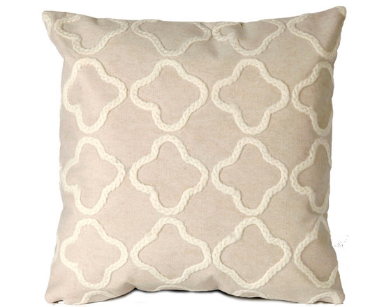"""Trans-Ocean Outdoor Pillows - Trans-Ocean Liora Manne Crochet Tile White - 20"""" x 20"""" - Designer Liora Manne's newest line of toss pillows are made using a unique, patented Lamontage process combining handmade artistry with high tech processing. The 100% polyester microfibers are intricately structured by hand and then mechanically interlocked by needle-punching to create non-woven textiles that resemble felt. The 100% polyester microfiber results in an extra-soft hand with unsurpassed durability."""