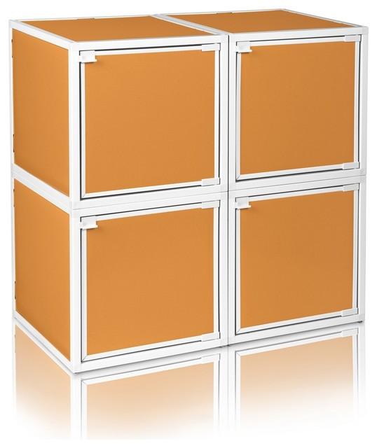 Way Basics 4 Box Storage Cube Stackable, Orange - Modern ...