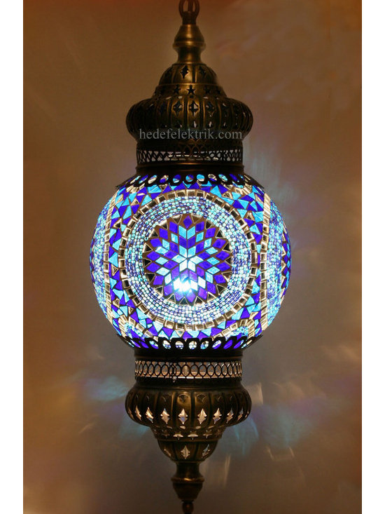 Blue Mosaic Turkish Style Colourful Pendant Lighting 20cm - Mosaic lamps are made of original colour of glasses. When the lamp is lit, the glasses cause colorful shades, which can suddenly change the ambiance of a room by its inspiring view. Noe of the glasses are painted nor applied a transaction. Each parts of the lamp are handmade.