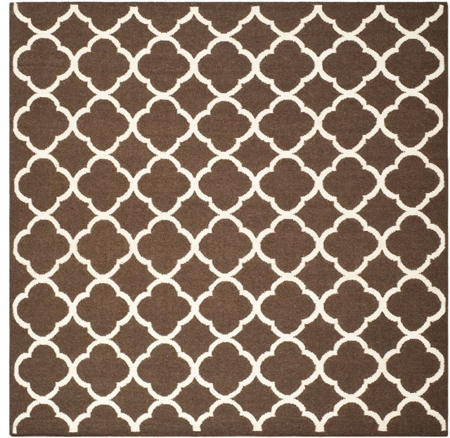 contemporary dhurries square 7 square brown ivory area rug contemporary rugs by rugpal