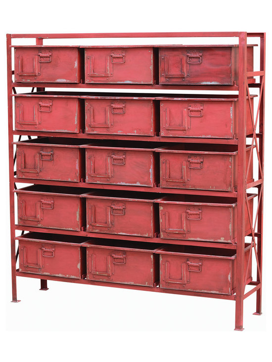 Four Hands - Rockwell 15 Drawer Chest - Have you bin there, done that when it comes to staying organized? Then this unique, factory-inspired piece will punch your clock. There are 15 metal bins that slide out and hold your clothes, toys, craft items or extreme coupons — all in a time-worn red metal frame.
