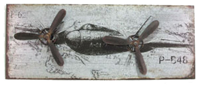 Metal airplane wall plaque eclectic artwork atlanta for Airplane wall decoration