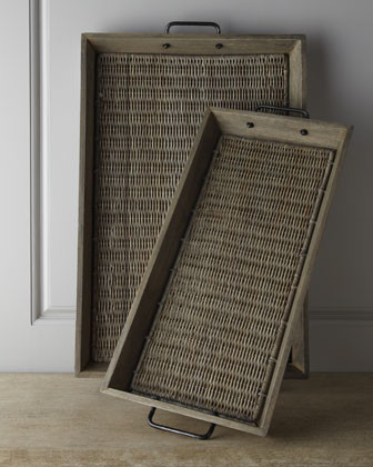 Woven Rattan Trays traditional-serveware
