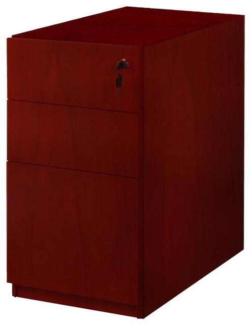 Mayline Luminary 3 Drawer Pedestal File for Credenza in Cherry Finish transitional-filing-cabinets-and-carts